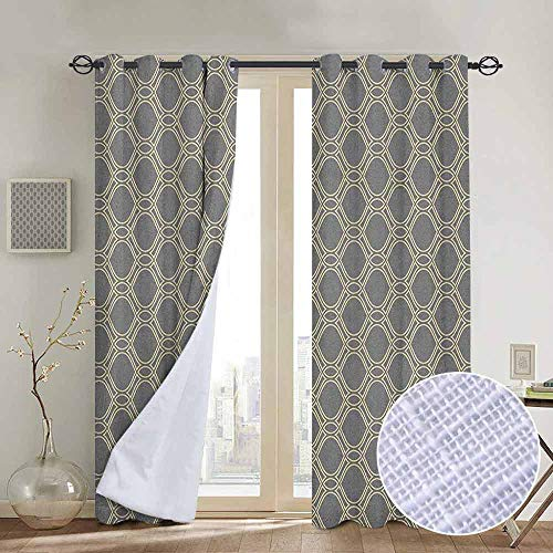 NUOMANAN Blackout Lined Curtains Geometric,Oval Shapes with Curved Lines Ornamental Composition of Abstract Shapes, Beige and Taupe,Thermal Insulated,Grommet Curtain Panel 1 Pair 120