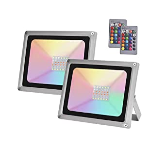 2×30W Sararoom RGB Foco LED,IP65 Impermeable Foco Proyector ...