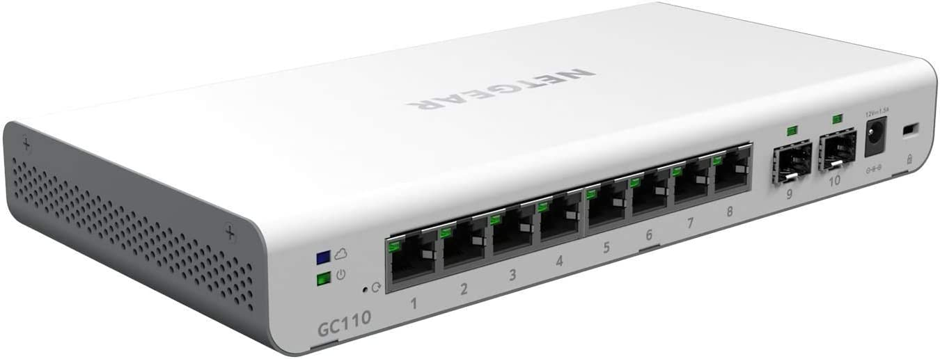 NETGEAR 10-Port Gigabit Ethernet Smart Managed Pro Switch with Insight Cloud Management (GC110) - With 2 x 1G SFP, Desktop