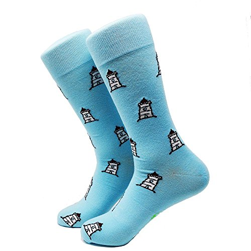 30 Lighthouse - SummerTies Mens Dress Socks, Lighthouse-Blue, One Size Fits Most - Mid Calf