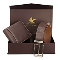 Hornbull Mens Brown Wallet and Belt Combo BW6995