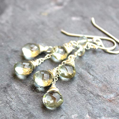 Green Amethyst Earrings Sterling Silver Prasiolite Briolette Dangle ()