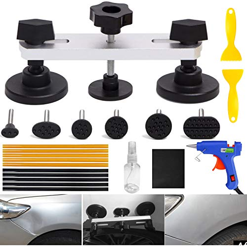 ARISD 22PCS Auto Body Paintless Dent Removal Tools Kit Bridge Dent Puller Kits with Hot Melt Glue Gun and Glue Sticks