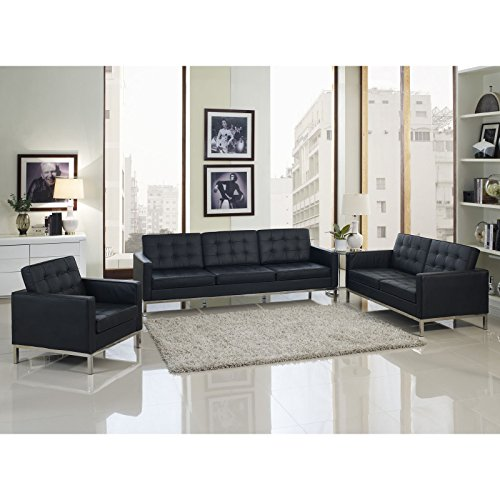 Modway Leather Florence Style Armchair Loveseat and Sofa in Black with Eileen Gray Side Table Eileen Gray Side Chair