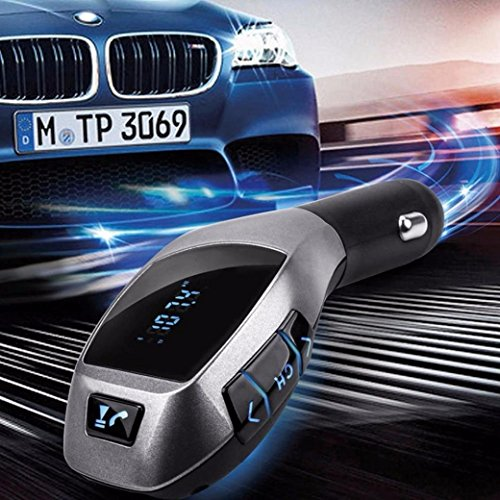 Price comparison product image Glumes Bluetooth FM Transmitter for Car,  Wireless LCD MP3 Player,  Car Kit SD MMC USB FM Transmitter Modulator,  Hands Free Calling for iPhone Samsung Android,  Good Gift (Black)