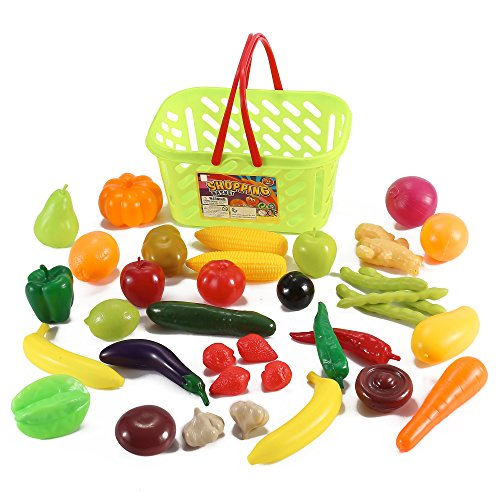 Liberty Imports Fruits and Vegetables Shopping Basket Grocery Play Food Set for Kids-38 Pieces