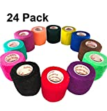 2 inch Vet Wrap Tape Bulk (24 Pack) FDA Approved, Vetwrap Self Adhesive Adhering Cohesive Bandage Vet Rap for Dog Cat Horse Pet Flex Roll, Assorted, Paw Prints, Patterns, Camo Camouflage Colors