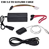 Warmstor SATA/PATA/IDE Drive to USB 2.0 Adapter Converter Cable for 2.5'' / 3.5'' Hard Drive Disk HDD with External AC Power Adapter