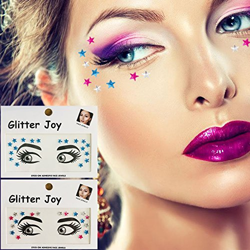 Leoars 2 Sets Eye Corners Face Jewels Blue Stars Bindi Rhinestone Festival Decorations Jewels Body Glitter Crystal Sticker Temporary Tattoo