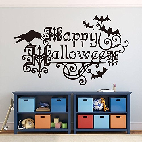 Happy Halloween Mural (Ouniman Happy Halloween Lettering Wall Decal Wall Sticker,DIY Bats Crow Window Decor Party Supplies Wall Murals Home Living Room Bedroom Kitchen Decoration for Kids Adults-22.4''x13.8'')