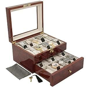 Tech Swiss TSBOX20KEY-BUR Luxury Watch Box 20 Watches Burlwood Finish Glass Window Lock