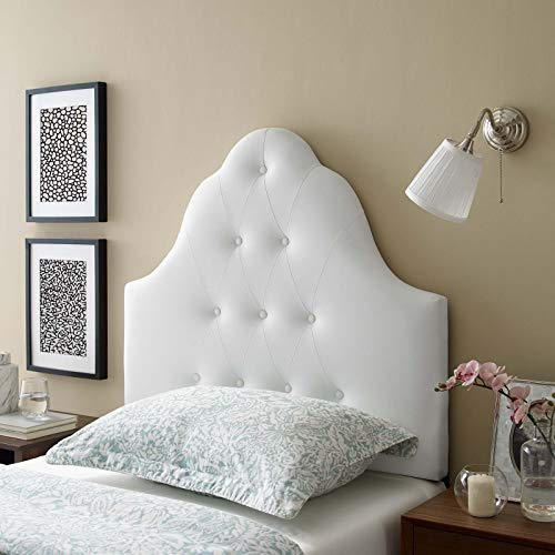 Upholstered Tufted Headboard - Modway Sovereign Tufted Button Faux Leather Upholstered Twin Headboard in White