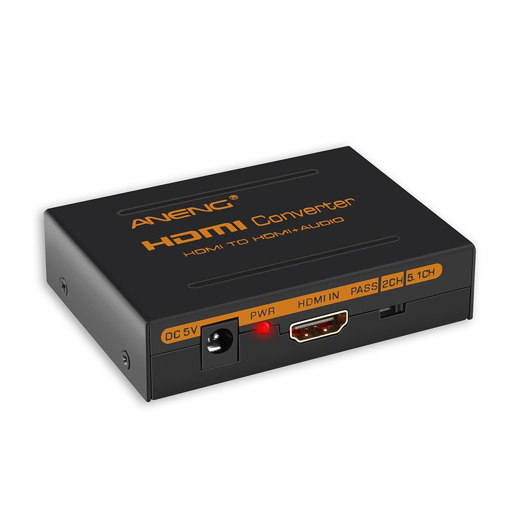 HDMI Audio Extractor, ANENG 4K HDMI to HDMI + Optical Toslink(SPDIF) + RCA(L/R) Stereo Analog Outputs Video Audio Splitter Converter by ANENG