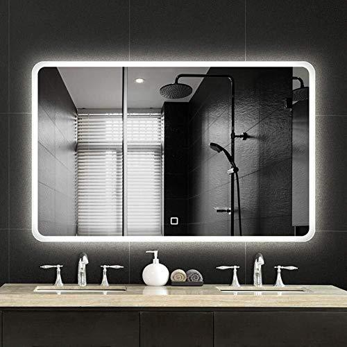 Rectangle LED Illuminated Bathroom Mirror Intelligent Anti-Fog Backlight Wall Mounted Vanity Makeup -