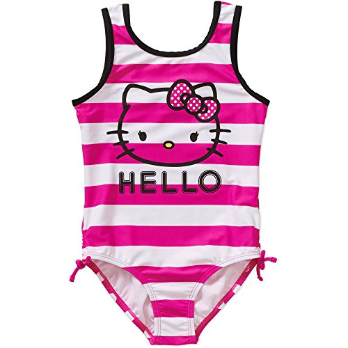 Girls One Piece Hello Kitty Striped Swimsuit Size Small 6/6X