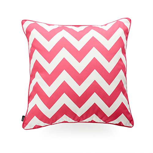 Hofdeco Decorative Throw Pillow Cover INDOOR OUTDOOR WATER RESISTANT Canvas Hot Pink Zigzag Chevron 18''x18'' by Hofdeco