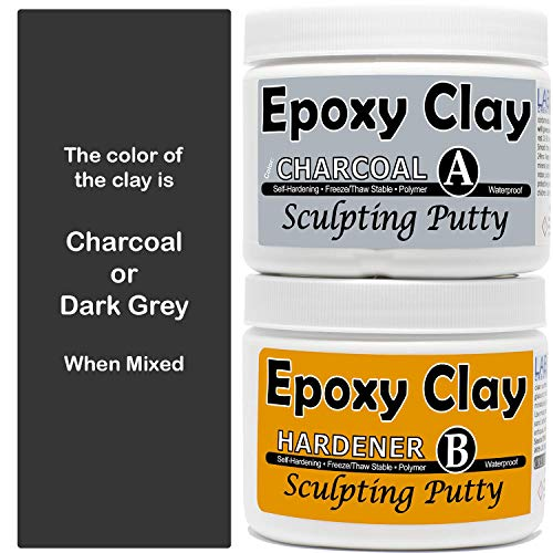 2 Part Sculpting Epoxy Clay 1 lb Kit | Color: Charcoal | Air Dry Self Hardening Non Ceramic Resin Putty Permanent Bond | waterproof | Wood, Crack & Stone repair/filler | Modeling Clay | LXC -