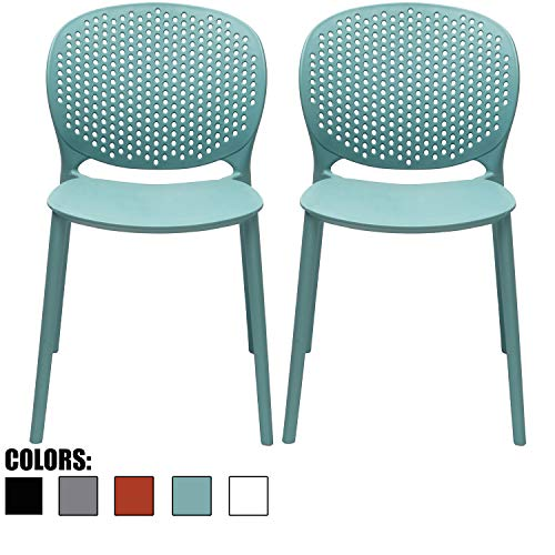 2xhome Set of 2 Blue Contemporary Modern Stackable Assembled Plastic Chair Molded with Back Armless Side Matte for Dining Room Living Designer Outdoor Garden Patio Balcony Work Office Desk Kitchen (Contemporary Side Chair)