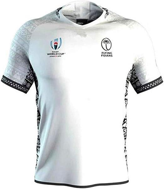 T-SHIRT 2019 Copa del Mundo Fiji Y Fuera De Casa Los Aficionados Al Fútbol Camiseta De Fútbol Camisas De Manga Corta De Rugby Formación del Ventilador De Secado Rápido Sportswear White-XXXL: Amazon.es:
