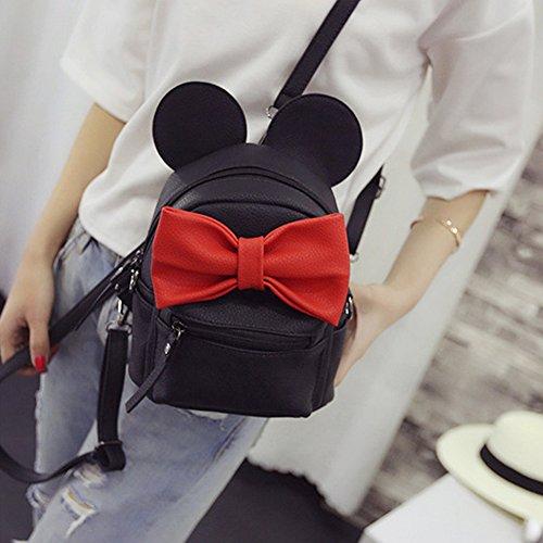 Imperméable Cuir À Multiusage Backpack Bowknot Femme Noir Dos Big Oreilles Mini noir Sac Pu qSXwvvUa