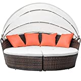 FLIEKS Leisure Zone Outdoor Patio Backyard Poolside Furniture Wicker Rattan Round Daybed with Retractable Canopy (Beige Cushion)