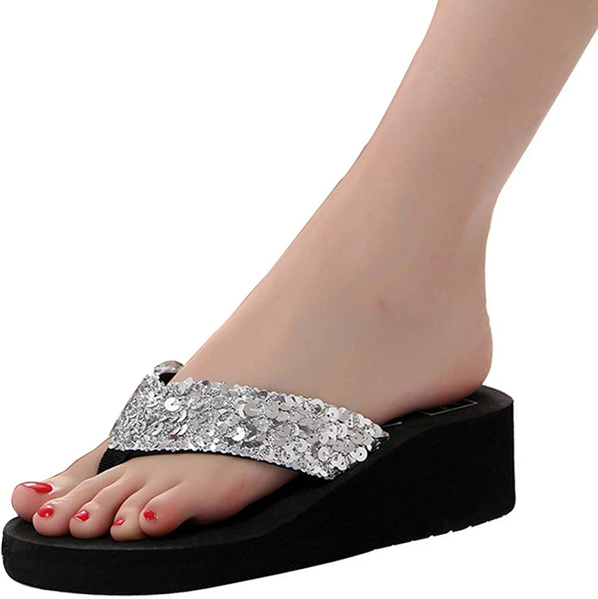 Sequins Women Shoes Beach Slippers Flip Flops Sandalias Plataforma Women Wedges Sandals Silver Flip Flops