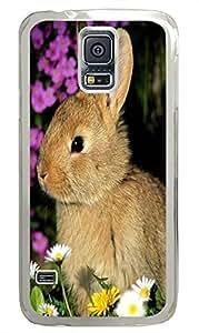 Samsung S5 case on sale Cute Gray Rabbit Flowers PC Transparent Custom Samsung Galaxy S5 Case Cover
