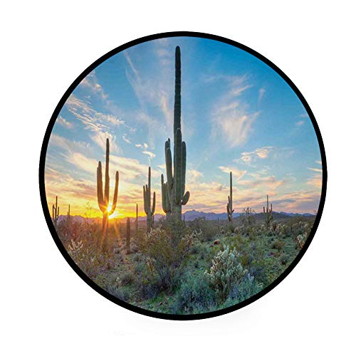 36.2″ Home Decor Ultra Soft Round Non-Slip Bath Mat or Rug Place in Front of Shower,Vanity,Bath Tub,Sink & Toilet, Sun Shine is Setting Between Cactus Spines Magical Noon Landscape Wild Design