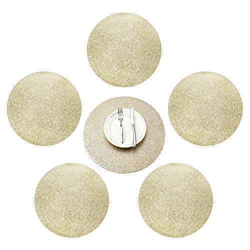 MLADEN Pressed PVC Round Metallic Placemats,Charger for Holiday and Decor,Wedding Accent Centerpiece Set of 6 (Gold)