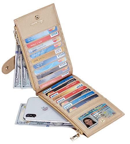 Travelambo Womens Walllet RFID Blocking Bifold Multi Card Case Wallet with Zipper Pocket 2