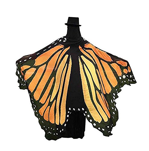 USANDY Womens Halloween Printing Butterfly Wings Beach Shawl Scarves Fairy Ladies Nymph Pixie Cosplay Costume (Yellow)