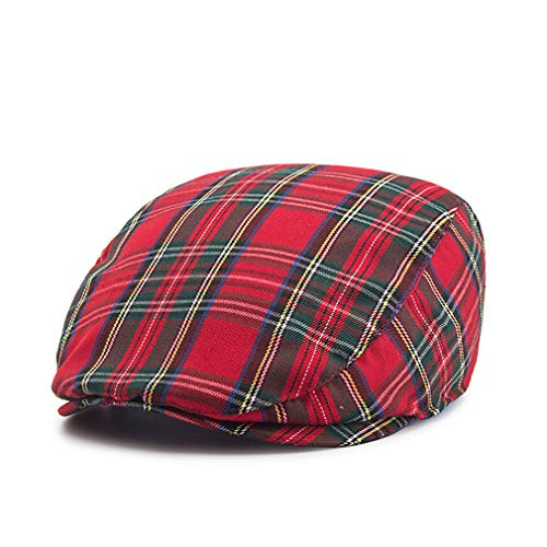 - RICHTOER Newsboy Cap Beret Men Women Flat Caps Summer Cotton Plaid Hat Outdoors (Red)