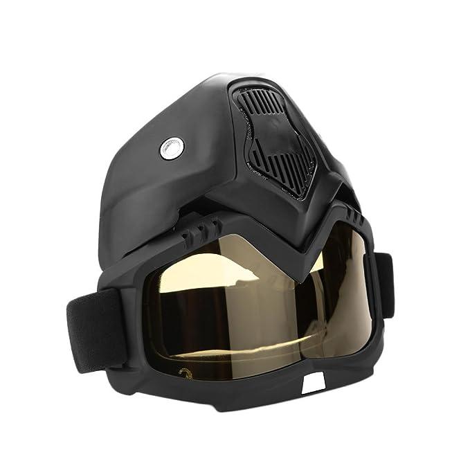 Sedeta Casco de moto Riding Goggles Glasses Ajustable antideslizante Correa Con mascarilla extraíble Gafas calientes desmontables a prueba de niebla: ...