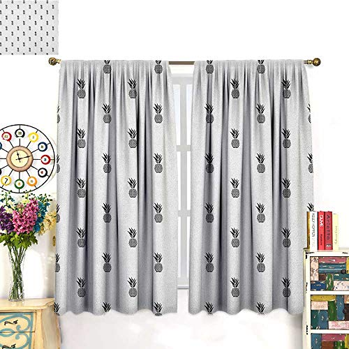 Black and WhiteSolid Rod Pocket short Blackout DrapesMonochrome Pineapple Design Hawaiian Healthy Tropical Fruit PatternBedroom Curtains Blackout Curtain Insulating Energy Saving Solid Rod Pocket Bl