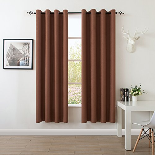 S DOLLCT Premium Energy Saving Thermal Curtains Insulated Linen Polyester and Velvet Living Room Curtains,Metal Grommet Window Drapes,52 by 84 - Inch (Set of 2) - Brown curtains