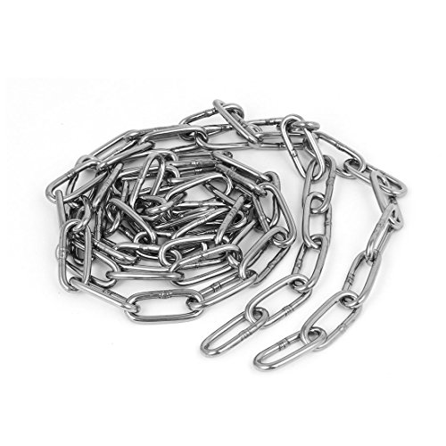 uxcell Pet Dog Training Clothes Hanging 304 Stainless Steel Coil Chain Silver Tone M3x5Ft by uxcell
