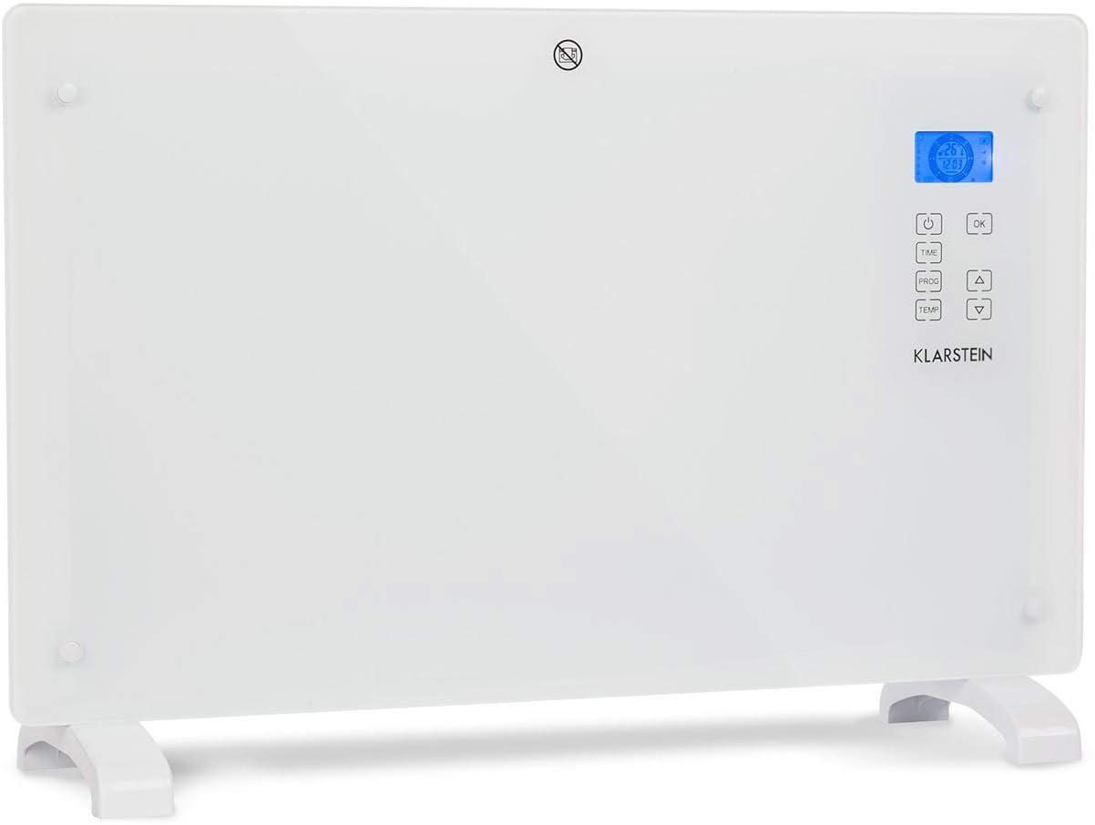 Klarstein Norderney - Calefactor-convector, 2 niveles, Protección IP24, Termostato, Sensor temperatura, Detector heladas, Suelo/Pared, Panel cristal, Pantalla LCD, Control táctil, 2.000 W, Blanco humo