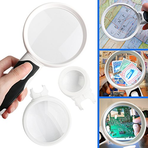 Magnifying Glass with Light LED Magnifier With 3 Detachable Illuminated Lenses 2.5X 5X 16X - Ideal For Seniors & - Map Mall Crystal