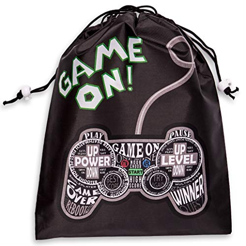 - Juvale 12-Pack Drawstring Party Favor Bags, Video Gamer Supplies, Game On Design, 9.5 x 12 inches