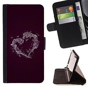 BullDog Case - FOR/HTC One M7 / - / Minimalist Heart /- Monedero de cuero de la PU Llevar cubierta de la caja con el ID Credit Card Slots Flip funda de cuer
