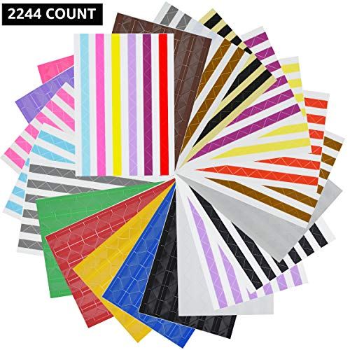 VIPbuy 22 Sheets (2244 Count) Photo Mounting Corner Stickers Self Adhesive for Scrapbooking Photo Album Diary DIY Craft, 22 Colors Assorted