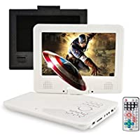 Portable DVD Player, FENGJIDA 9 DVD Player, 3 Hour Rechargeable Battery, SD Card Slot and USB Port White