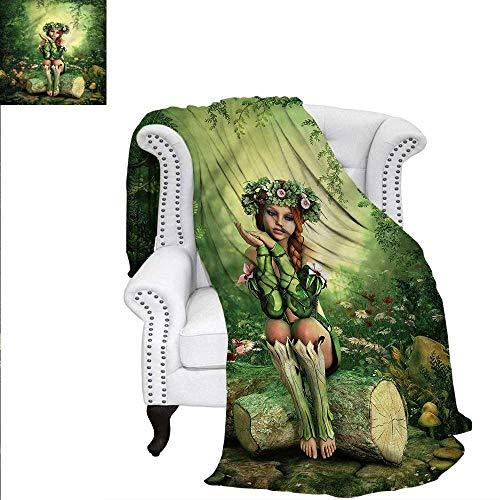 RenteriaDecor Fairy Warm Microfiber All Season Blanket Elf Girl with Wreath Tree Print Image Blanket 50