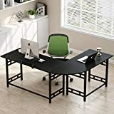 Tribesigns 67' Large Modern L-Shaped Desk Corner Computer Office Desk PC Laptop Study Table Workstation Home Office with Monitor Printer Shelf Wood & Metal (Black with Grain)