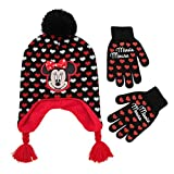 Disney Little Girls Minnie Mouse Character Hat and Gloves Cold Weather Set, Age 4-7