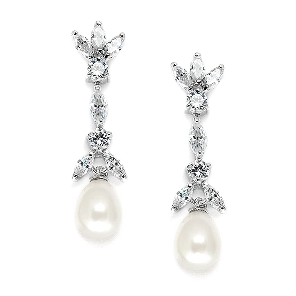 b3db0bce0d3f1 Mariell Cubic Zirconia & Freshwater Pearl Drop Bridal Earrings -  Marquis-Cut CZ & Pearls Wedding Dangles