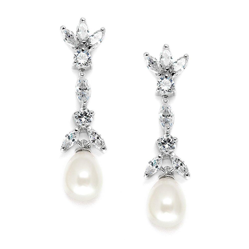 Mariell Cubic Zirconia & Freshwater Pearl Drop Bridal Earrings - Marquis-Cut CZ & Pearls Wedding Dangles