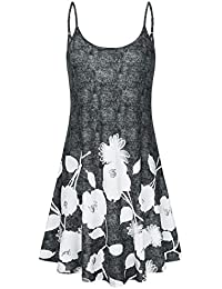 Women's Casual Adjustable Strappy Floral Printed Summer Swing Dress.