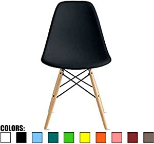 2xhome - Black - Plastic Molded Side Chair Natural Wood Legs Eiffel Dining Room Chair - Lounge Chair No Arm Arms Armless Less Chairs Seats Wooden Wood leg Wire Leg