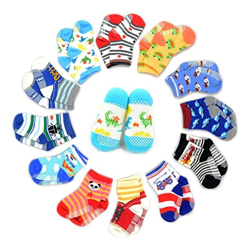 12 Pairs Anti-slip Socks Toddler Socks, Marrywindix Assorted Kids Socks Size Ages 2-3 Years Animal Print Boys Girls Socks Random Color
